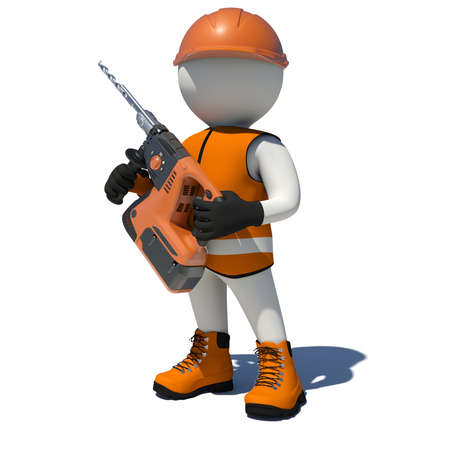 perforator: White man in vest, shoes and helmet holding electric perforator. Isolated render on white background