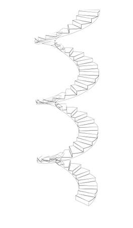 spiral stairs: Front view of wire-frame spiral stairs. Isolated on white background