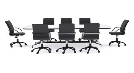 isolated chair: Conference table and black office chairs. Isolated render on white background Stock Photo