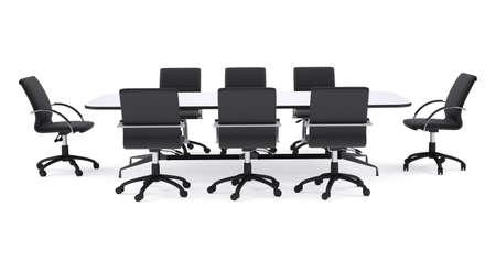 silla: Mesa de conferencias y sillas de oficina de color negro. Procesamiento aislada sobre fondo blanco