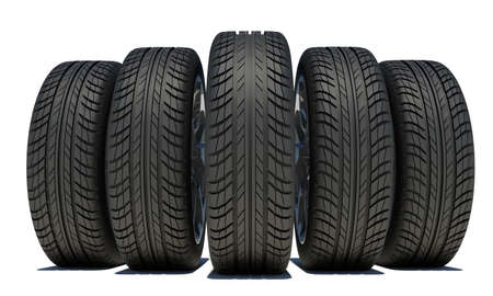 tire cover: Wedge of five black car wheels. Front view. Isolated on white background