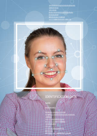 brunete: Concept of person identification. Girl face with lines, frame and text. Blue background