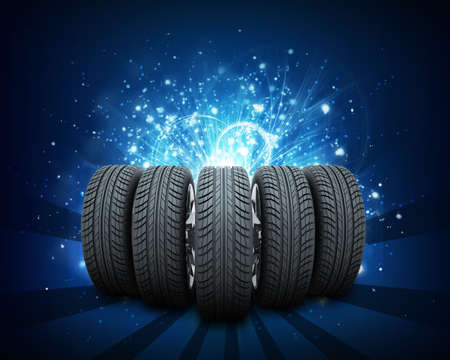 wedge: Wedge of new car wheels. Abstract blue background is magic lines and stripes at center