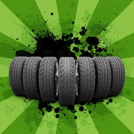 tire cover: Car wheels. Abstract background is black blotches and green stripes at center