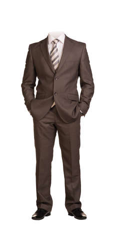 full suit: Businessman in suit without head, standing with hands in pockets. Isolated on white background Stock Photo