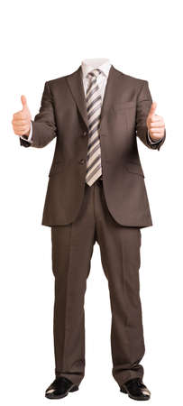 thumbsup: Businessman in suit without head, standing and showing thumbs-up. Isolated on white background
