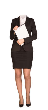 no heels: Businesswoman in suit without head, standing and holding clipboard. Isolated on white background Stock Photo