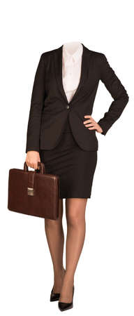 no heels: Businesswoman in suit without head, standing and holding briefcase. Isolated on white background