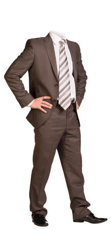 half turn: Businessman in suit without head, standing with hands on hips. Isolated on white background Stock Photo