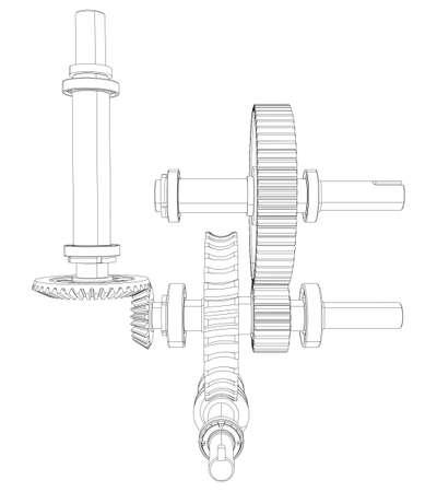 shaft: Reducer consisting of gears, bearings and shafts. Vector illustration, 3d render