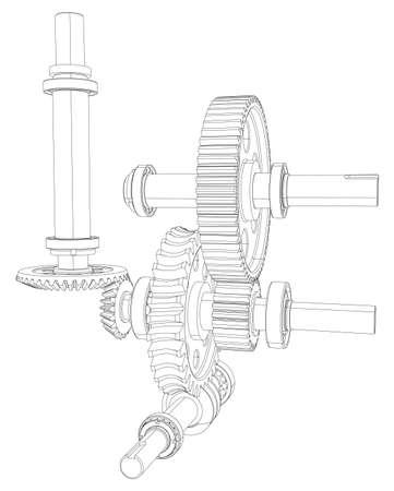 ベアリング: 歯車、ベアリングとシャフト。ベクトル イラスト、3 d のレンダリング