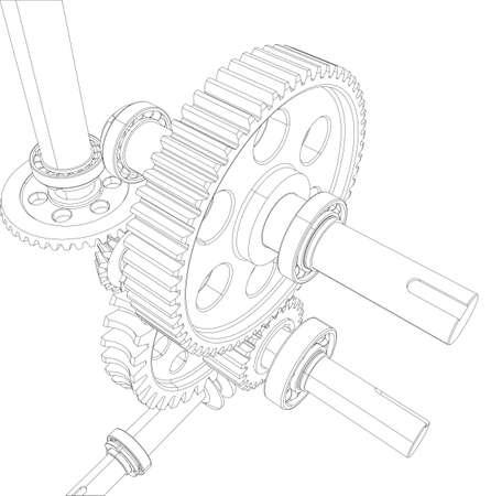 ベアリング: ワイヤー フレームの減速機ギア、ベアリングとシャフトから成る。ベクトル イラスト、3 d のレンダリング