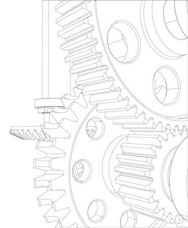 worm gear: Reducer consisting of gears, bearings and shafts. Close-up. Vector illustration, 3d render