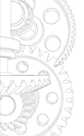 Wire-frame gears with bearings and shafts. Close-up. Vector illustration, 3d render