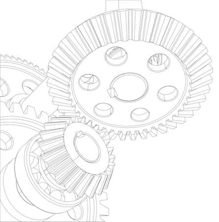 Gears with bearings and shafts. Close-up. Vector illustration, 3d render