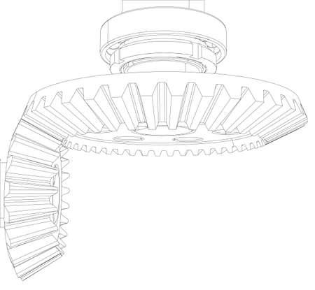 ベアリング: ワイヤー フレーム歯車、ベアリングとシャフト。クローズ アップ。ベクトル イラスト、3 d のレンダリング
