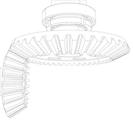 helical: Wire-frame gears with bearings and shafts. Close-up. Vector illustration, 3d render
