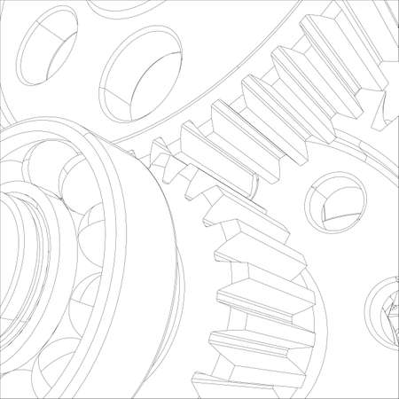 helical: Gears with bearings and shafts. Close-up. Vector illustration, 3d render