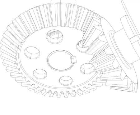 shaft: Gears with bearings and shafts. Close-up. Vector illustration, 3d render
