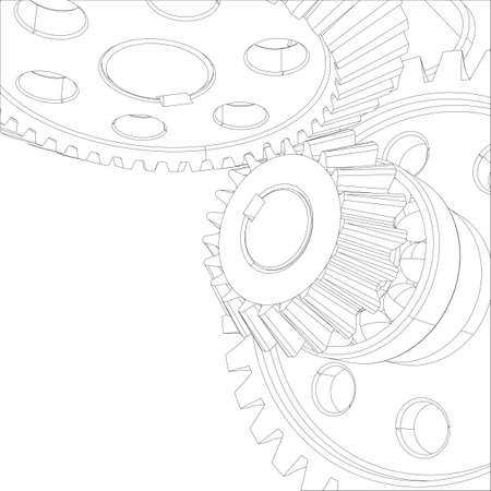 worm gear: Wire-frame gears with bearings and shafts. Close-up. Vector illustration, 3d render