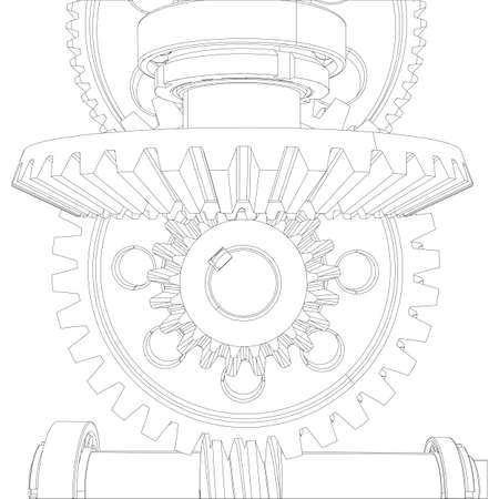 worm gear: Gears with bearings and shafts. Close-up. Vector illustration, 3d render