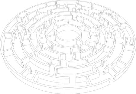 intricacy: Round intricate labyrinth. Vector illustration, 3d render