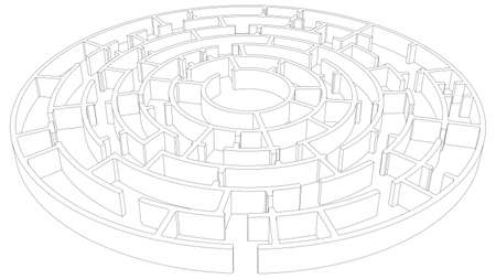 intricacy: Wire-frame round tangled maze. Vector illustration, 3d render Illustration