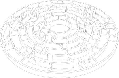intricacy: Wire-frame round intricate labyrinth. Vector illustration, 3d render