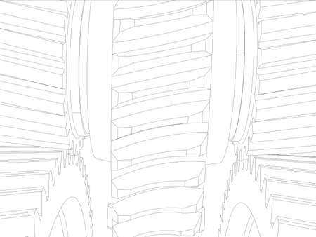 helical: Wire-frame gears with shafts. Close-up. Vector illustration, 3d render Illustration
