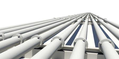 industriales: Muchas tuberías industriales blancas se extiende en la distancia. Aislado en el fondo blanco. Concepto industrial