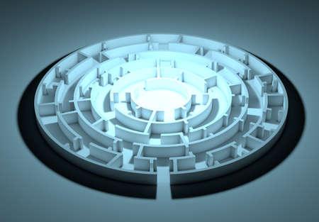 night vision: Dark round maze with an illuminated center. conceptual image