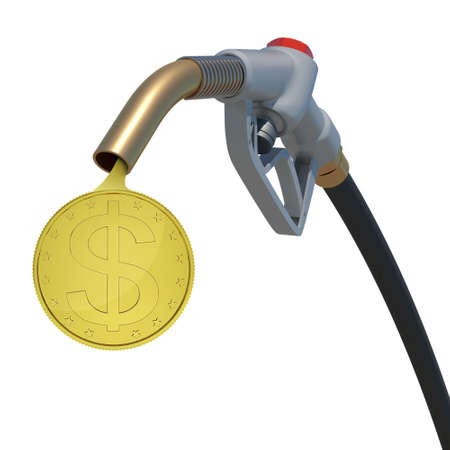 Gold dollar coin flowing from the fuel nozzle on isolated white background photo