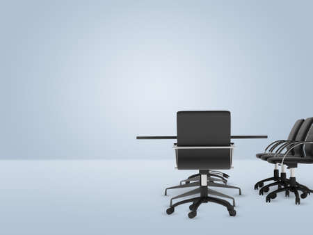 bisiness: Office with furniture on right side of picture on empty background Stock Photo