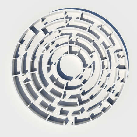 Top view of 3d model round maze on isolated background photo