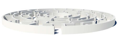 Closed Side view of maze with enter on white isolated background photo