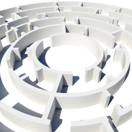 teaser: Top view of 3d model round labyrinth. Closed view. Isolated background