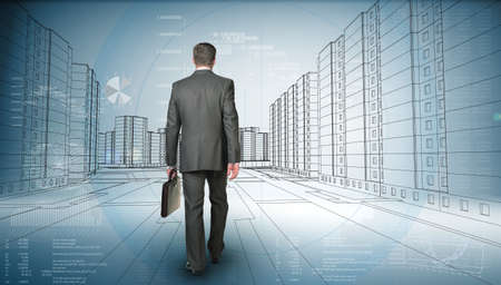 bisiness: Back view of business man holding briefcase and walking forward on road with an abstract background
