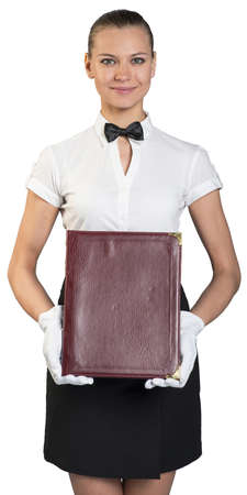 Young waitress with smile in white gloves holding folder.  photo