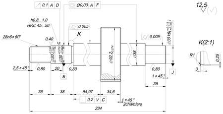 Sketch of shaft with chamfers. Engineering drawing with lines, angle degrees and numbers. Vector image