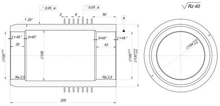 the shaft: Sketch of shaft. Engineering drawing with lines, hatching, angle degrees and numbers. Vector image