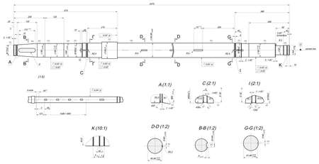 shaft: Expanded sketch of shaft with layout keyways and hatching. Engineering drawing with lines, angle degrees and numbers. Vector image