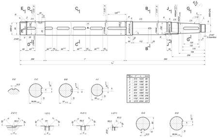 shaft: Expanded sketch of shaft with table and hatching. Engineering drawing with lines, angle degrees and numbers. Vector image