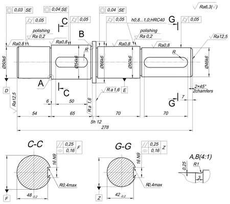 Expanded sketch of shaft with polishing, chamfers and hatching. Engineering drawing with lines, angle degrees and numbers. Vector image