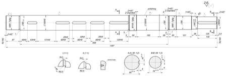 radius: Expanded sketch of shaft with polishing, chamfers and radius. Engineering drawing with lines, angle degrees and numbers. Vector image