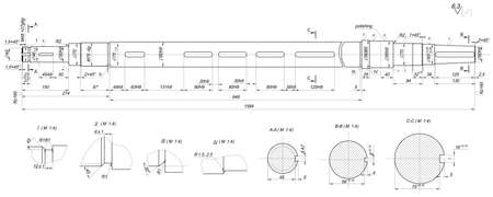shaft: Expanded sketch of shaft with radius, polishing and hatching. Engineering drawing with lines, angle degrees and numbers. Vector image