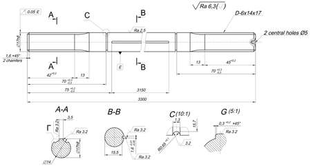 shaft: Expanded sketch of shaft with radius, radical, polishing and hatching. Engineering drawing with lines, angle degrees and numbers. Vector image