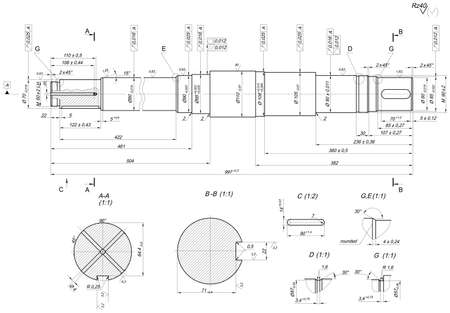 the shaft: Expanded sketch of shaft with crossed elements and hatching. Engineering drawing with lines, angle degrees and numbers. Vector image Illustration
