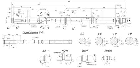 shaft: Expanded sketch of shaft with keyways and hatching. Engineering drawing with lines, angle degrees and numbers. Vector image