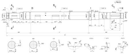 shaft: Expanded sketch of shaft with crowfoots and hatching. Engineering drawing with lines, angle degrees and numbers. Vector image