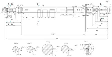 shaft: Expanded sketch of shaft with angle degree and hatching. Engineering drawing with lines and numbers. Vector image Illustration